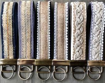 Boho Keychain, Wristlet Key Fob, Lace Keychain, Fabric Key Fob, Wrist Lanyard, Key Loop, Lace Lanyard, Gift for Women    BOHO COLLECTION