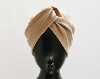 Champagne beige cream luxury wide velvet turban twist knot headband
