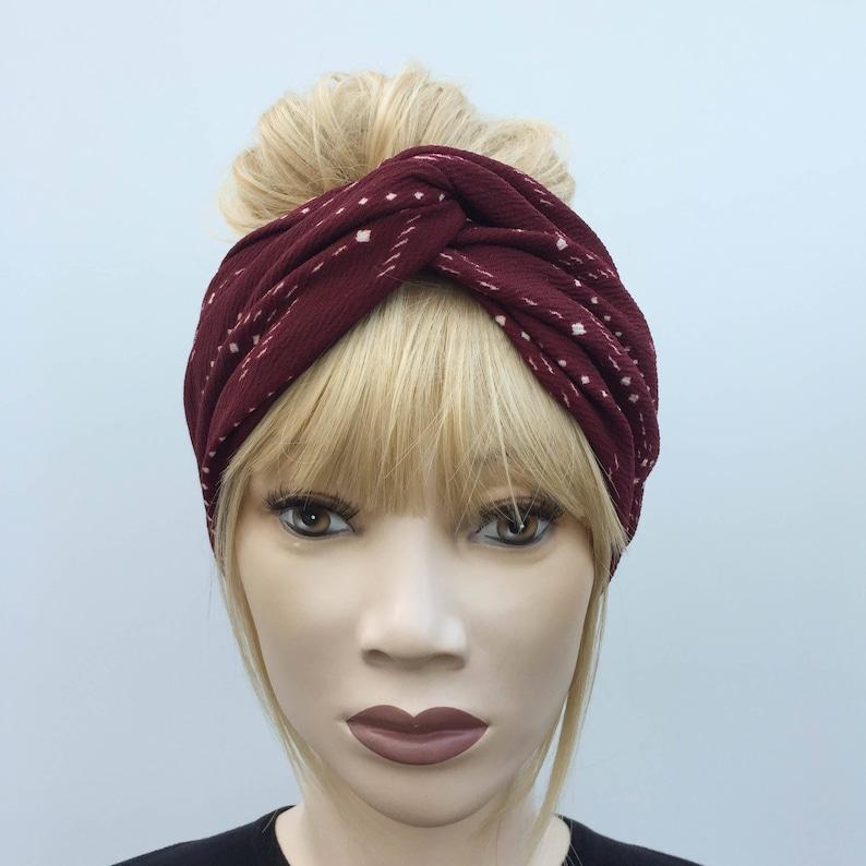 1b36b5025 Burgundy wine red tribal print textured turban twist headband