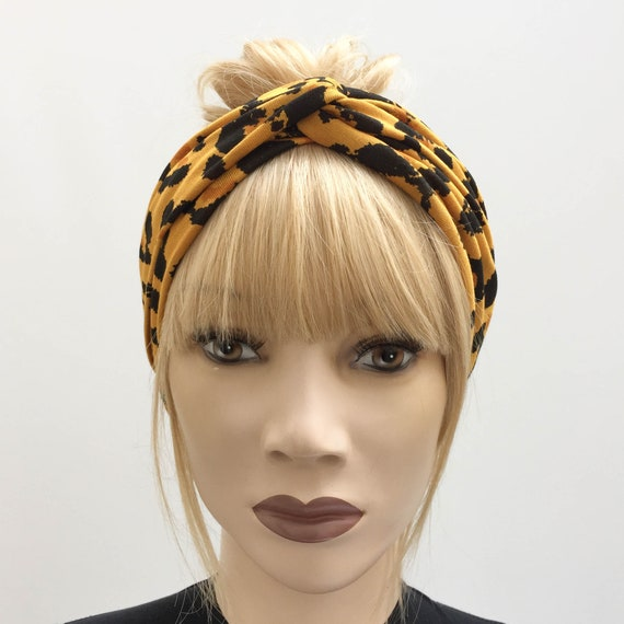 Mustard leopard print jersey turban twist knot headband  1b3f26ec649