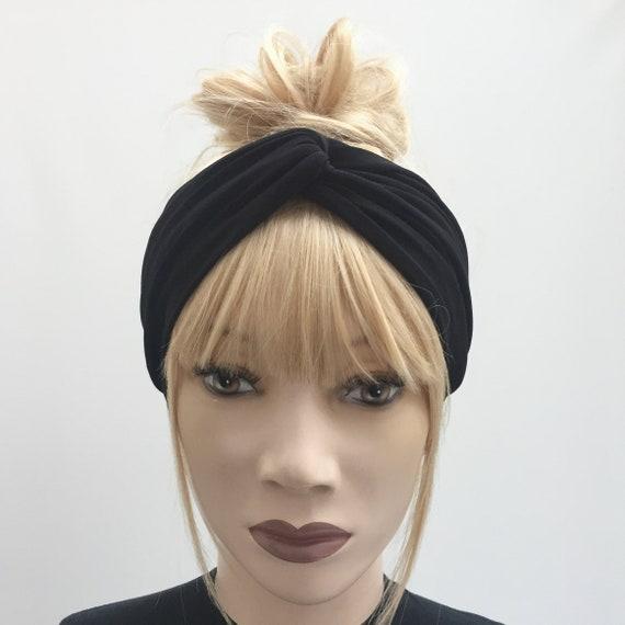 Black everyday lycra jersey turban twist knot trendy yoga gym  862d68c4381