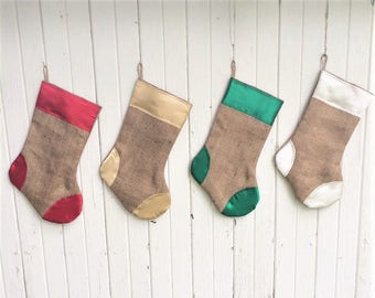 Satin & Burlap Christmas Stocking- 4 Colors of Burlap/Satin Available- Shabby/Rustic Chic-Holiday Decor-Christmas