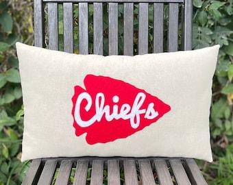 "12"" x 20"" Natural Cotton Arrowhead Chiefs Pillow- Custom Colors Available- Kansas City Chiefs-NFL-Playoffs-Football Decor-Sports Decor"