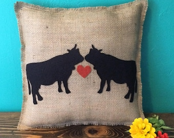 """14""""x14"""" Cow Love Natural Burlap Fringe Pillow-Farm Animal Decor-Cow Decor-Abstract-Choose Your Colors-Customize-Rustic/Natural/Country"""