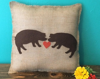 """14""""x14"""" Pig Love Natural Burlap Fringe Pillow-Farm Animal Decor-Pig Decor-Abstract-Choose Your Colors-Customize-Rustic/Natural/Country"""