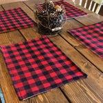 Buffalo Plaid & Burlap Placemats- Red and Black Check- Lined With Burlap-Cabin Decor- Farmhouse Decor- Lodge Decor-Valentines Day Decor