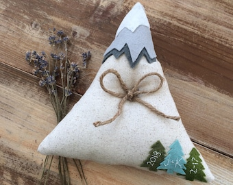 Mountain Ring Bearer Pillow-With Trees and Mountain Top Detail-Personalize With Initials & Date- Nontraditional-Mountain Wedding-Woodsy
