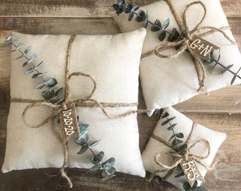 Natural Cotton Ring Bearer Pillow with Preserved Baby Eucalyptus- Jute Twine and Personalized Burlap Tag- Three Sizes Available- Minimalist