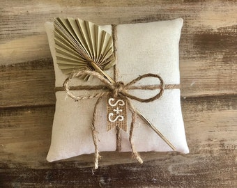 Natural Cotton Ring Bearer Pillow with Natural Palm Spear- Jute Twine and Personalized Burlap Tag- Boho Wedding-Natural Wedding