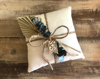 Natural Cotton Ring Bearer Pillow with Natural Palm Spear & Preserved Baby Eucalyptus- Jute Twine and Personalized Burlap Tag- Boho