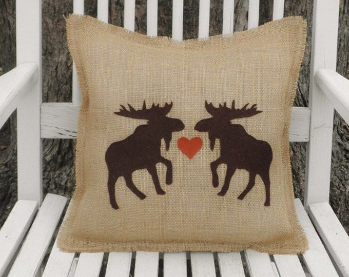 Burlap /& Plaid Fringe Pillows With Moose Bear or Evergreen Tree Applique
