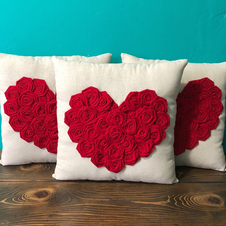 Cotton Rosettes Love Pillow Many Colors Available Valentines Day 13 x 13 Natural Cotton Rosette Heart Pillow Customize Shabby Chic