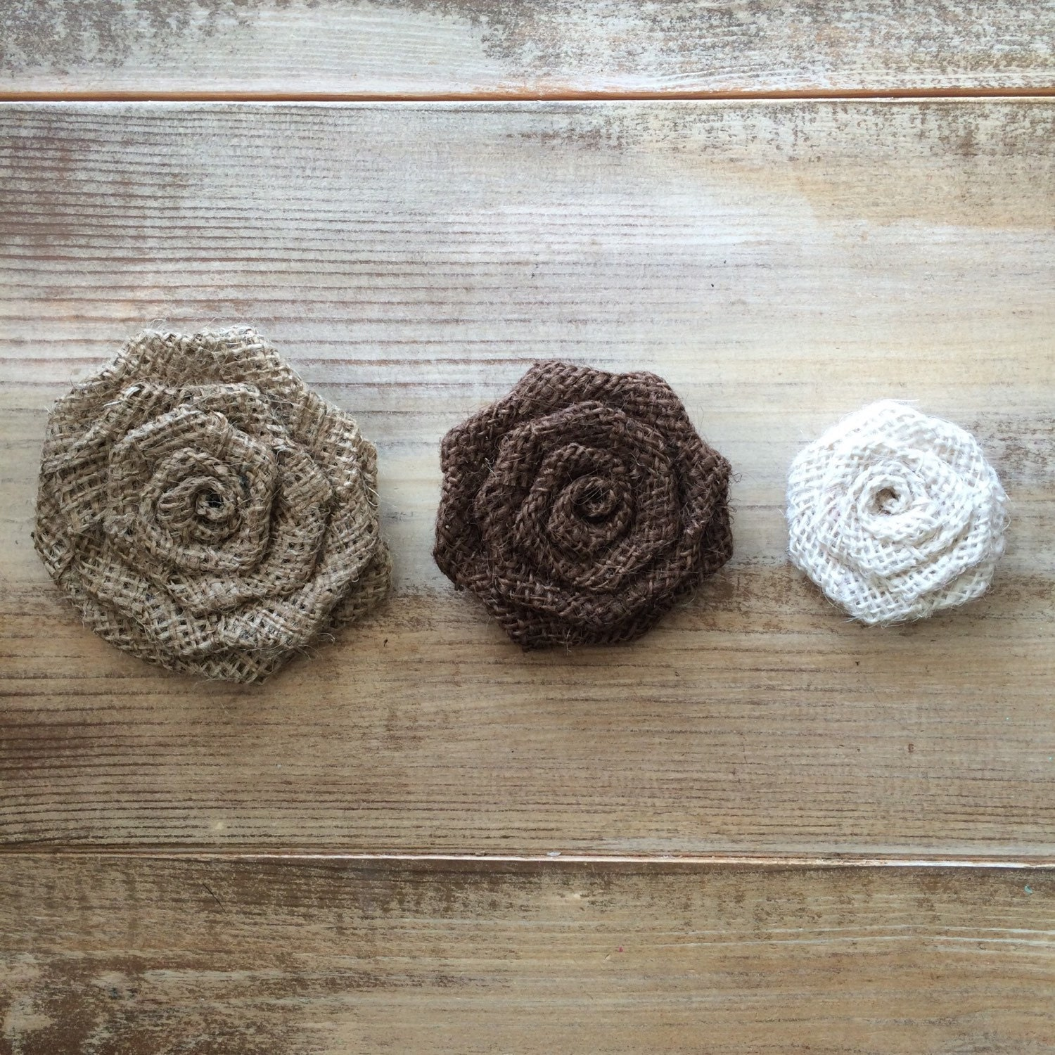 Set Of 50 Burlap Rosettes 3 5 Large 3 Colors Available Weddings Country Folk Rustic Large Fabric Flowers Primitive