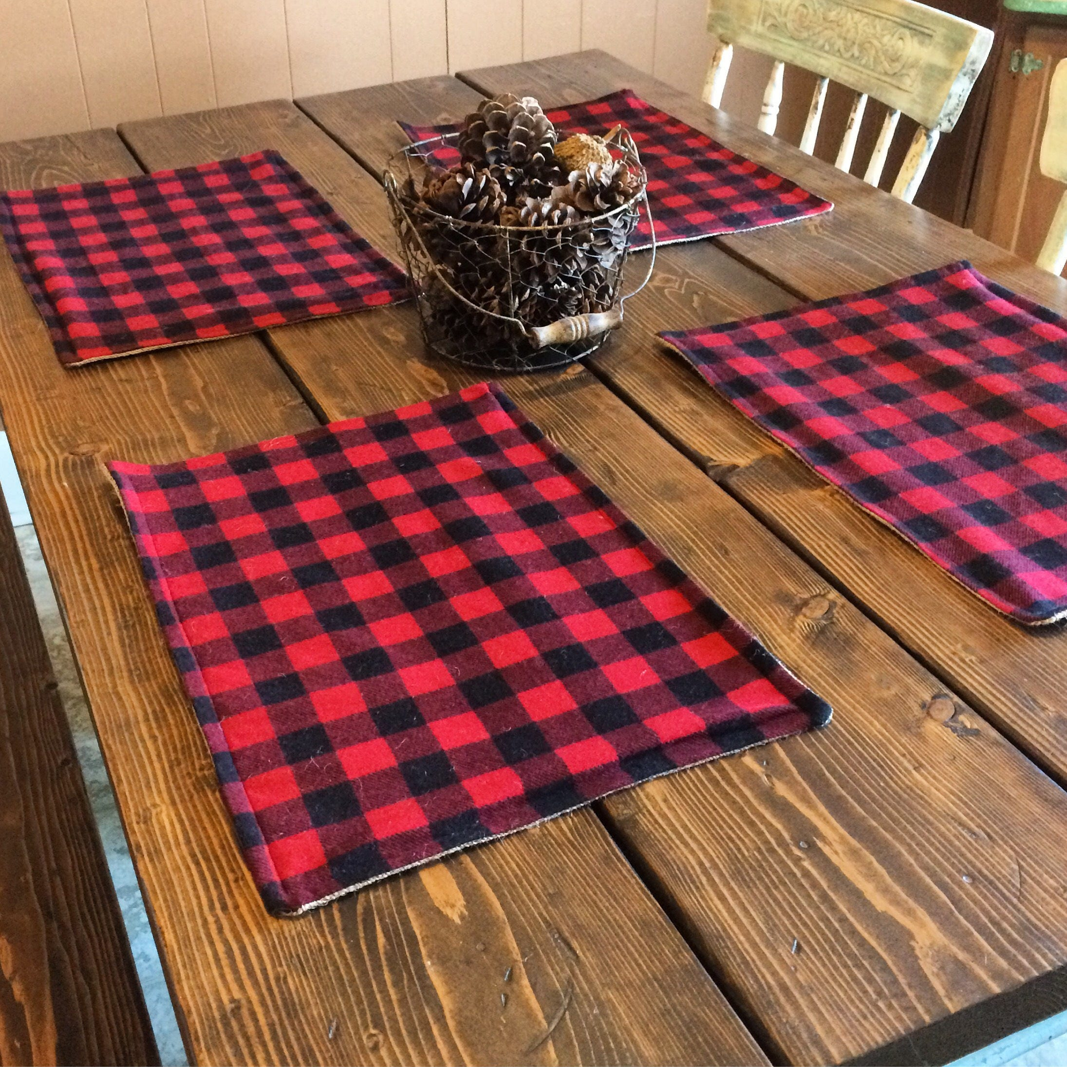 Buffalo Plaid U0026 Burlap Placemats  Red And Black Check  Lined With  Burlap Cabin Decor  Farmhouse Decor  Lodge Decor