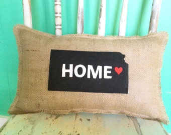 """Kansas Home Pillow-11"""" x 18"""" Natural Burlap Pillow-Create Your Own Color Combo-24 Colors Available-Rustic/Shabby Chic-State"""