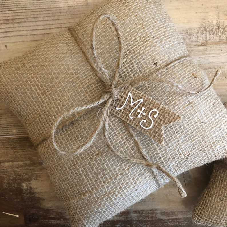 Natural Burlap Ring Bearer Pillow With Tag--Choose Your Tag ShapeColor-Choose Your Pillow Size-Personalize-RusticOutdoorsWoodsy-Wedding