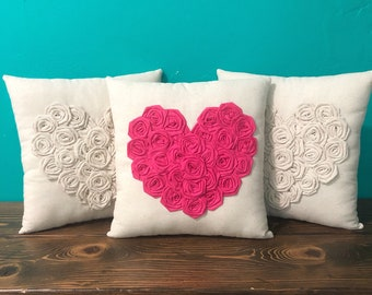"""13"""" x 13"""" Natural Cotton Rosette Heart Pillow- Cotton Rosettes- Many Colors Available- Customize- Valentines Day- Love Pillow- Shabby Chic"""