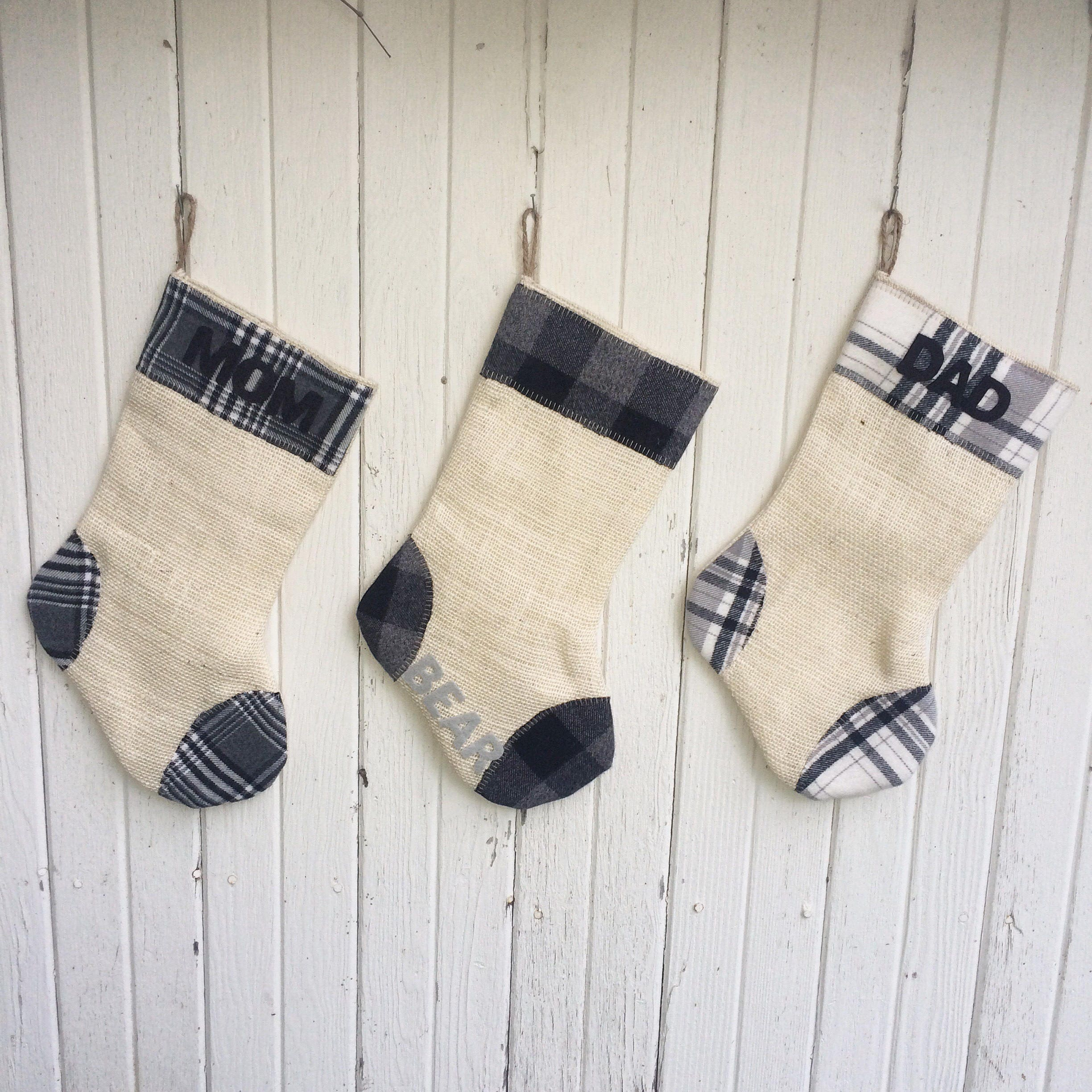gray plaid burlap christmas stocking grayblackwhite winter whites natural burlap cotton flannel rustic cabin woodland holiday decor
