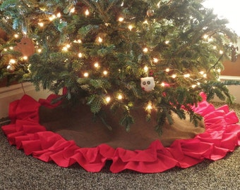 """58"""" Double Ruffle Burlap Tree Skirt-Chocolate Brown Burlap w/ Red Ruffles-Christmas-Country/Folk/Rustic- Other Colors Avail."""
