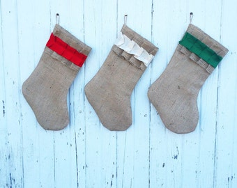 Burlap & Cotton Ruffle Christmas Stocking-Shabby Chic-Natural/Folk/Country/Rustic-CUSTOM Color Combinations Available