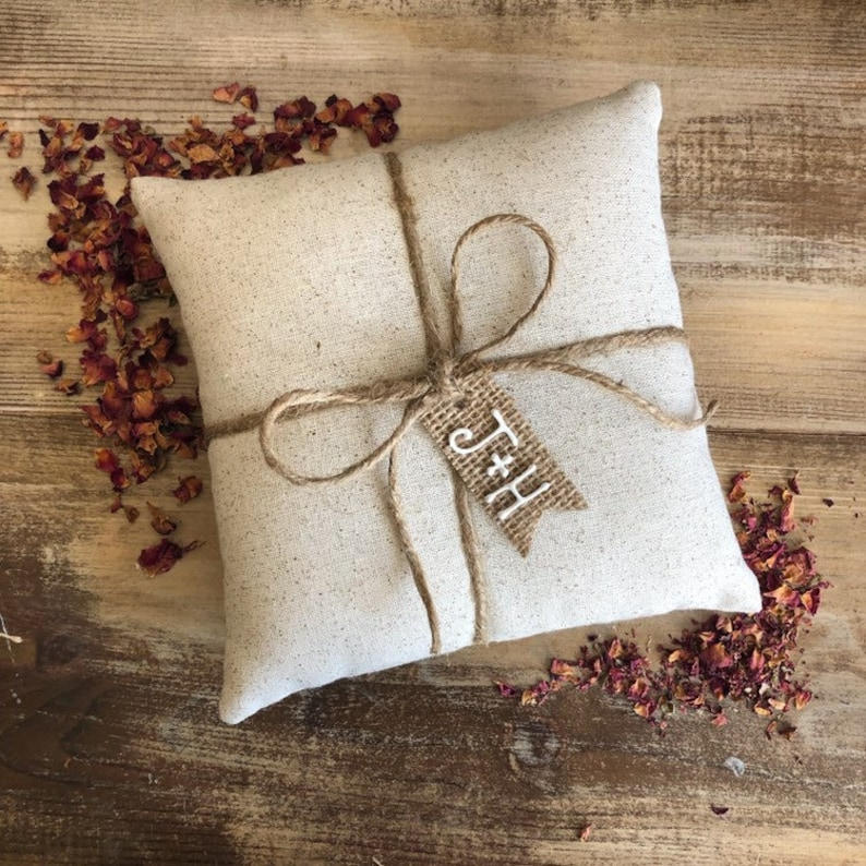 Natural Cotton Ring Bearer Pillow With Jute Twine and Burlap image 0