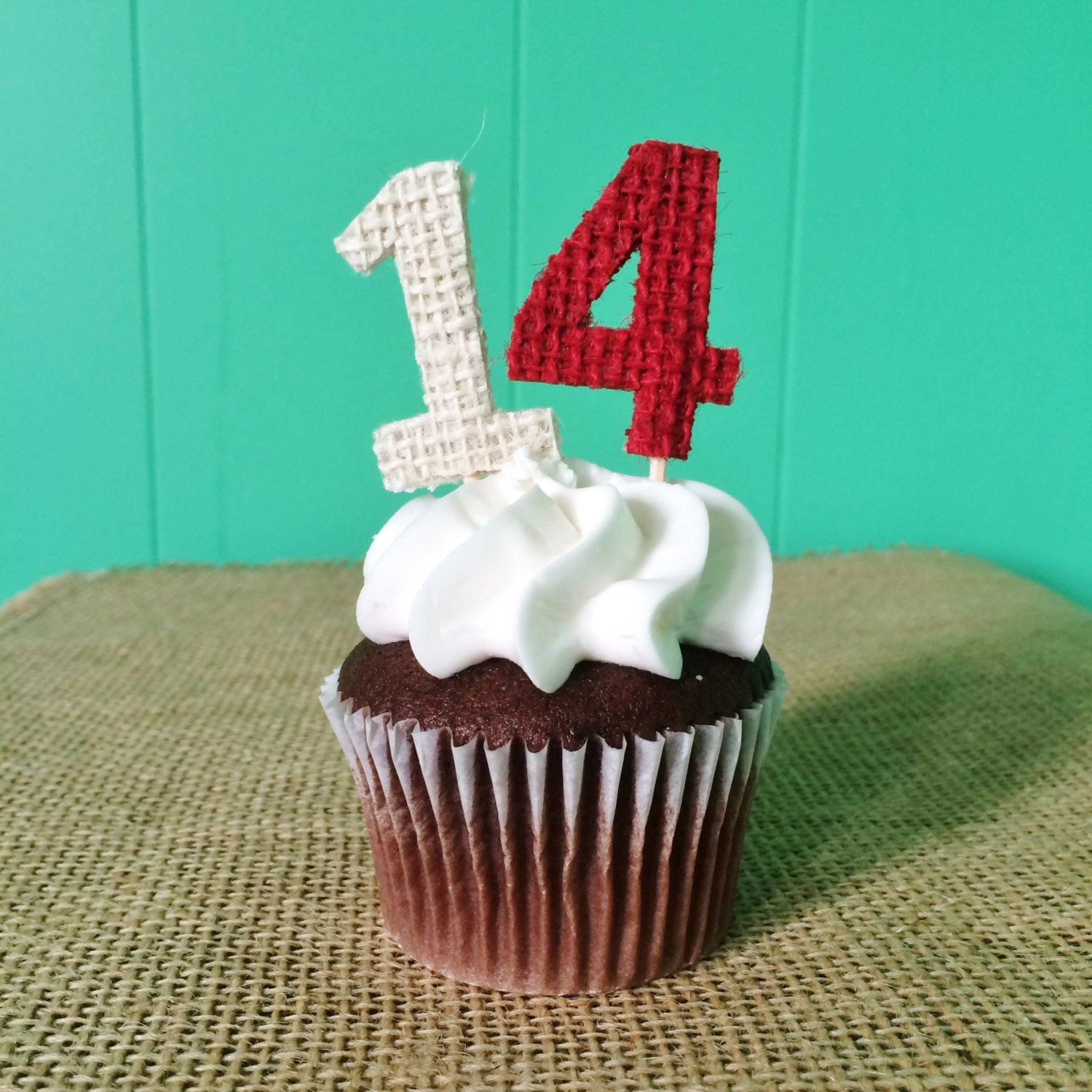 Set Of 12 Burlap Number Cupcake Toppers Choose Your Numbers Colors Rustic Country Shabby Chic Birthday Anniversary Wedding