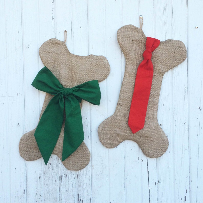 Burlap Dog Bone Christmas Stockings With Bow For Her-PuppyDog Stocking-Choose Your Colors-RusticShabby ChicNatural-Red and Green