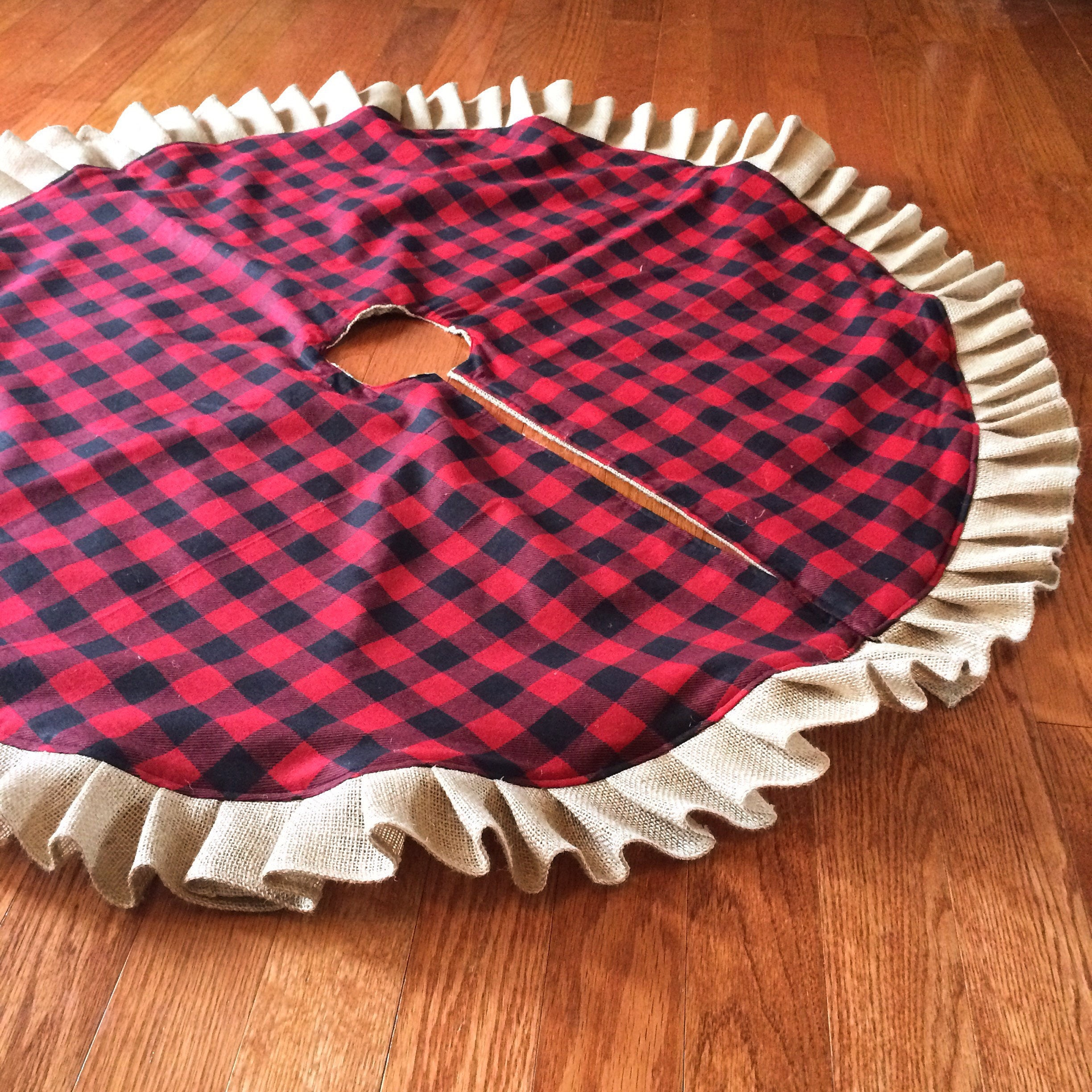 buffalo plaid burlap ruffle christmas tree skirt 45 46 red and black buffalo check flannel cotton natural burlap farmhouse cabin decor