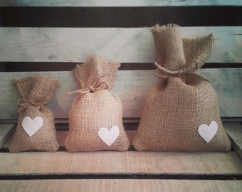 """Set of 12- Medium (4""""x7"""") Burlap Heart Favor Bags w/ Jute Twine-MANY Colors Available- Country/Folk/Americana/Rustic/Weddings/Party"""