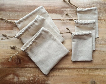 Set of 12-Natural Cotton Favor Bags-Cinch With Jute Twine-3 Designs & 2 Sizes Available-Weddings/Party/Reception-Natural/Rustic/Woodsy