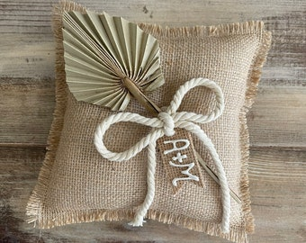 Natural Burlap Ring Bearer Pillow with Natural Palm Spear- Cotton Rope and Personalized Burlap Tag- Fringe Detail- Boho Wedding