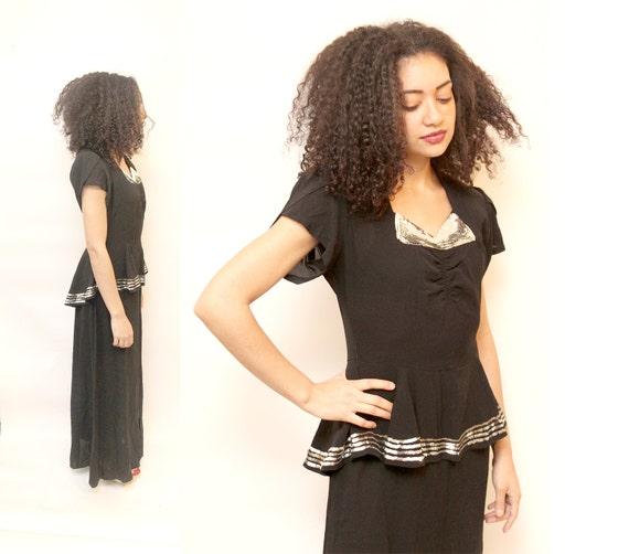 1920s Black Maxi Gown