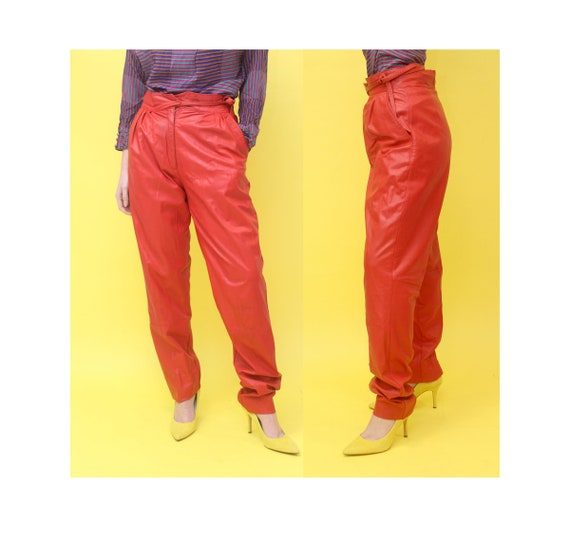 80s High Waist Leather Pants 28w