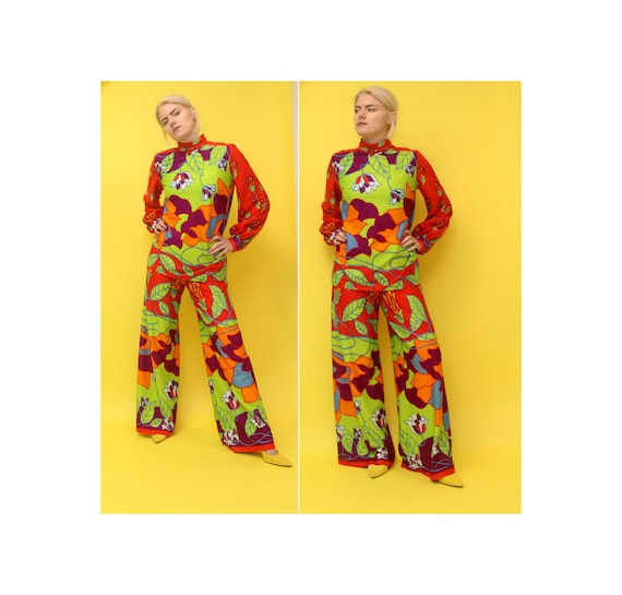 60s Psychedelic Polyester Two Piece Suit