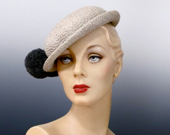 1ecbe0956d488 1940 s Bowler Women s Tilt Hat Rolled Stingy Brim - Light Grey with Dark  Grey Pom Pom Trim