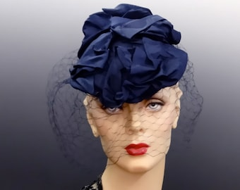 1930's French Tilt Hat Fascinator Blue Moire Silk Ribbon and Birdcage Veil Made in France
