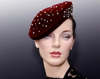 Vintage Structured Tilt Hat 1940's Burgundy Wine Velour with Beaded Trim