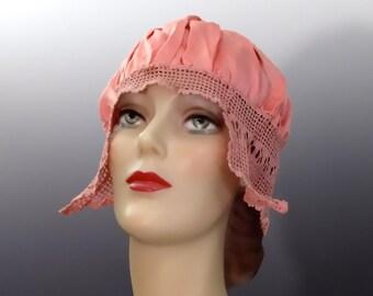 1920's Pink Silk Sleep Hat Flapper Boudoir Cap with Crochet Trim - Vintage Women's Lingerie