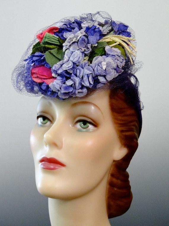 1940's Tilt Hat Fascinator Pink Lilac Purple Mill… - image 3