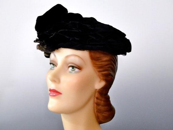 Antique Edwardian Women s Hat Early Period Black Velvet  f8326aa821c