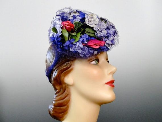 1940's Tilt Hat Fascinator Pink Lilac Purple Mill… - image 9