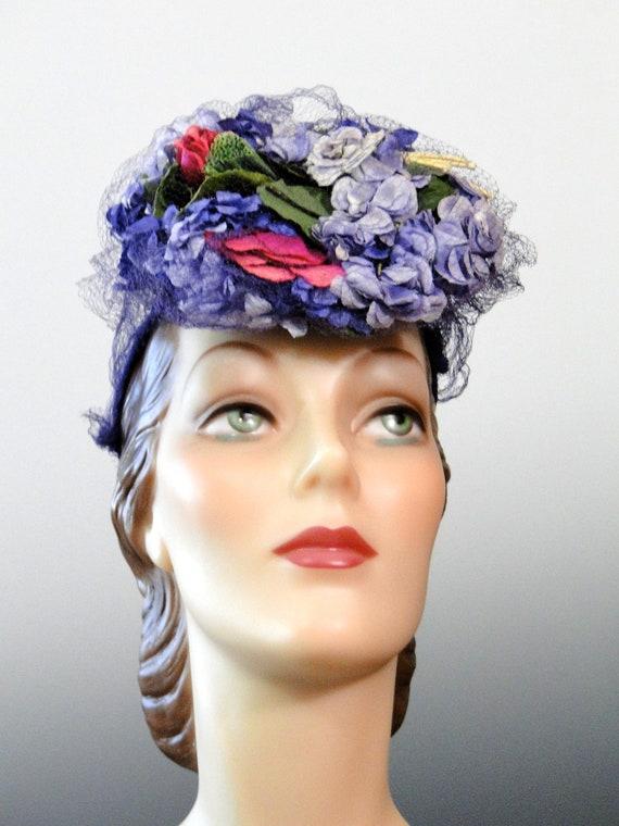 1940's Tilt Hat Fascinator Pink Lilac Purple Mill… - image 2