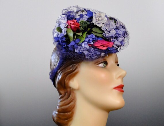 1940's Tilt Hat Fascinator Pink Lilac Purple Milli