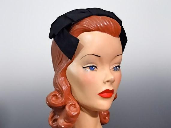 Vintage Hat Women's Half-Hat Headband Black Taffet