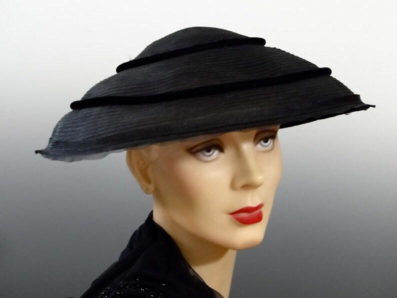 952feebdb Vintage Hat 1940's Women's Black Crinoline Platter with Velvet Bow Trim