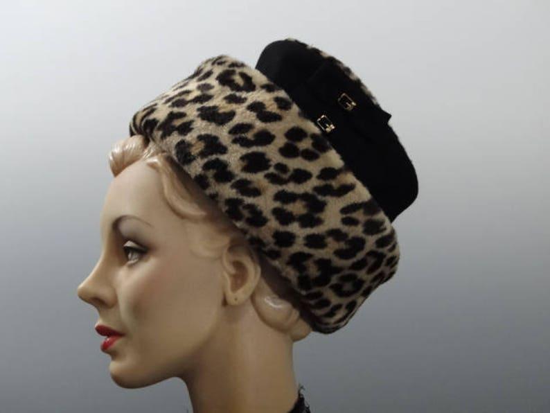 9804c21e89f Lilly Dache Hat Black Felt with Animal Print Faux Fur Trim