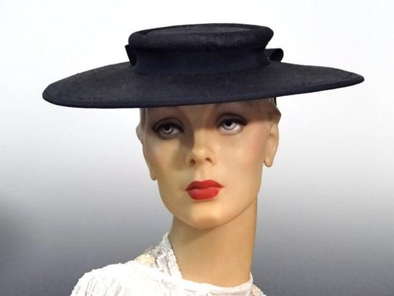 1940's Hat Women's Platter Hat Low Crown Navy Stra