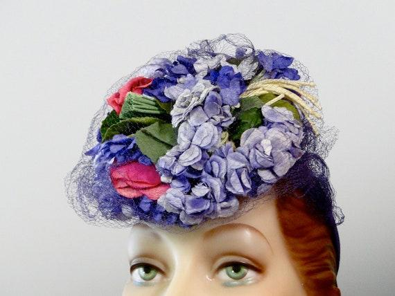 1940's Tilt Hat Fascinator Pink Lilac Purple Mill… - image 6