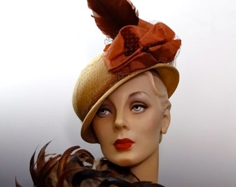 "Women's Tilt Hat ""New York Creation"" 1940's Vintage Straw Panama Boater with Large Feather Plume and Ribbon Bows"