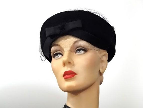 Little Black Hat Vintage Pillbox 1950 s Felt and Satin  b06be2e5000